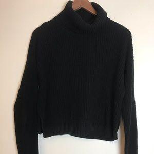 Black cropped turtleneck knit sweater
